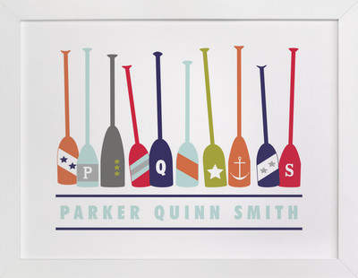 Monogrammed Oars Children's Custom Art Print