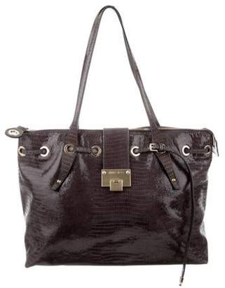 Jimmy Choo Embossed Patent Leather Rhea Tote gold Embossed Patent Leather Rhea Tote