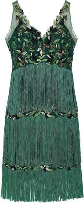 Marchesa Tiered Fringed Embellished Tulle Dress