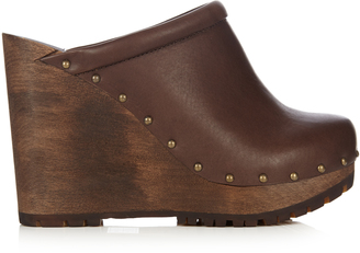 SEE BY CHLOÉ Clive leather wedge clogs $311 thestylecure.com