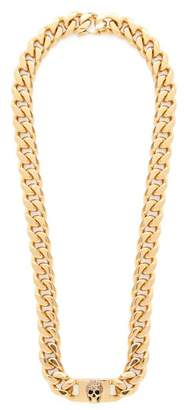 Alexander McQueen Pave Crystal Skull Curb Chain Necklace - Womens - Gold