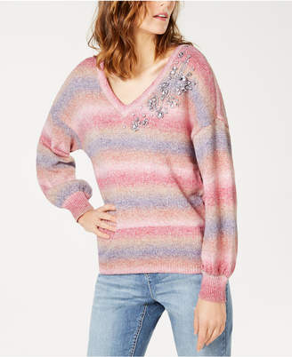 INC International Concepts I.N.C. Gemstone Embellished Puff-Sleeve Sweater, Created for Macy's