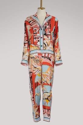 Emilio Pucci Flamingos silk jumpsuit