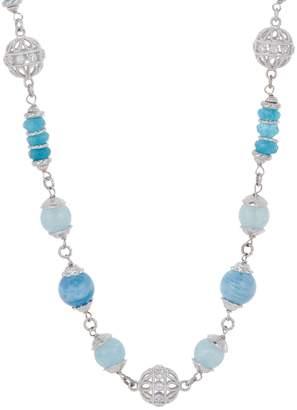 "Judith Ripka Verona Sterling Silver Milky Aqua 24"" Necklace"