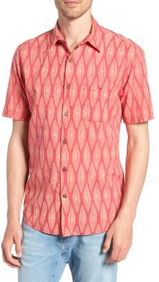 Faherty Coast Surfboard Leaf Print Sport Shirt