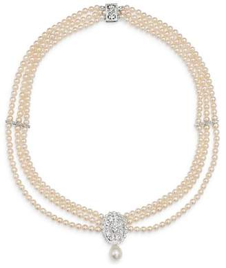 """Bloomingdale's Diamond & Cultured Freshwater Pearl Bib Necklace in 14K White Gold, 17"""" - 100% Exclusive"""
