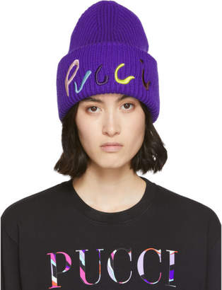 Emilio Pucci Purple Logo Embroidered Ribbed Beanie
