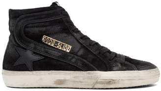 Golden Goose Black Suede Slide High-Top Sneakers