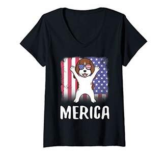 Womens Merica Basset Hound Dog USA American Flag 4th of July Gift V-Neck T-Shirt