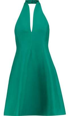 Halston Flared Cotton And Silk-Blend Halterneck Mini Dress