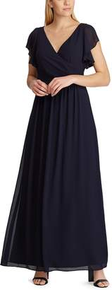 Chaps Women's Flutter Sleeve Surplice Evening Gown