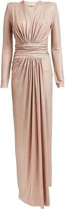 Alexandre Vauthier Rhinestone-Embellished Draped Jersey Dress
