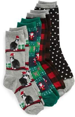 Hot Sox 4-Pack Holiday Cats Socks