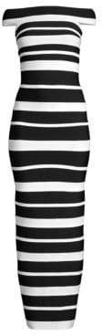 Herve Leger Striped Column Gown