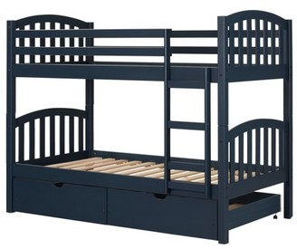South Shore Furniture South Shore Ulysses Solid Wood Bunk Beds, Navy Blue