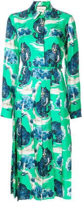 Gucci wildcat-print shirt dress