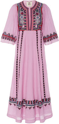 Figue Electra Embroidered Cotton Midi Dress