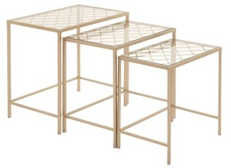 DecMode Metallic Gold Metal & Glass Nesting Accent Tables w/ Quatrefoil Grid Pattern | Set of 3