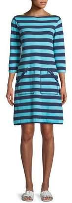 Joan Vass 3/4-Sleeve Striped Cotton Shift Dress