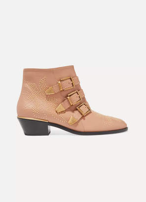 Chloé Susanna Studded Leather Ankle Boots - Baby pink