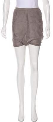 Rick Owens Silk High-Rise Shorts Grey Silk High-Rise Shorts