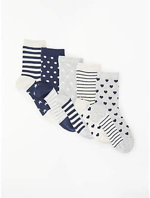 John Lewis Girls' Patterned Socks, Pack of 5, Navy