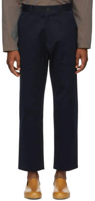 Studio Nicholson Navy Flat Front Trousers