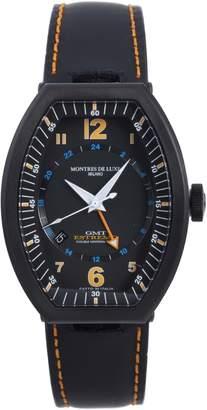 Montres de Luxe Men's EXN 9502 Estremo Titanium and Aluminum Luminous Leather Date Watch