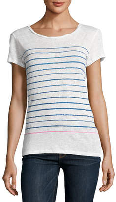 Neiman Marcus Majestic Paris for Two-Tone Stripe Linen T-Shirt