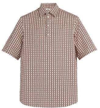Valentino Optical Print Cotton Shirt - Mens - Burgundy