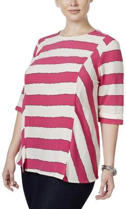 Melissa McCarthy Seven7 Womens Plus Blouse Striped Casual Top Purple
