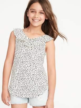 7d38d6cf0 Old Navy Cheetah-Print Ruffled Slub-Knit Top for Girls