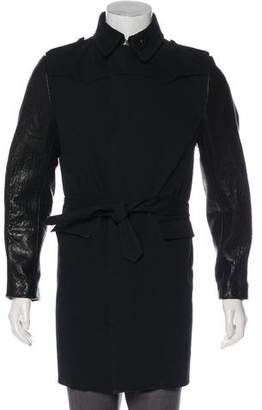 CNC Costume National Leather-Trimmed Moto Trench Coat