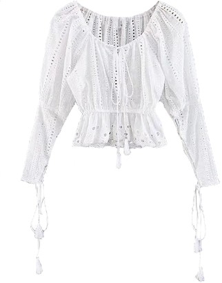 1820773d364bf Goodnight Macaroon  Luciana  Broderie Anglaise Tassels Top