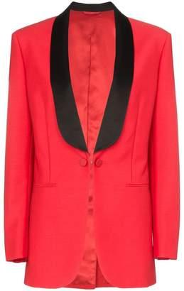 Calvin Klein deep V-neck mohair wool blend tux blazer