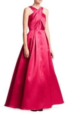 ML Monique Lhuillier Cross Front Satin Ball Gown