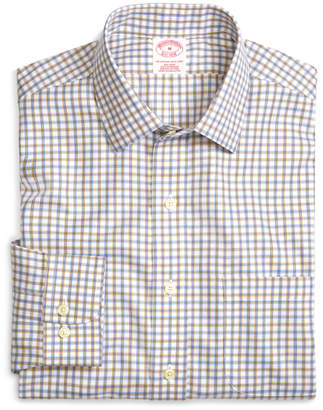 Brooks Brothers Supima Cotton Non-Iron Regular Fit Blue with Tan Twill Sport Shirt
