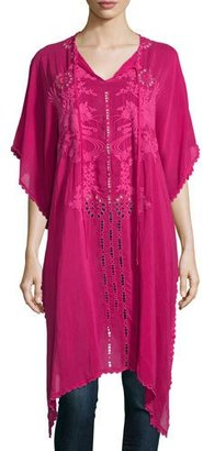 Johnny Was Yoko Half-Sleeve Embroidered Drama Caftan, Pomegranate $280 thestylecure.com