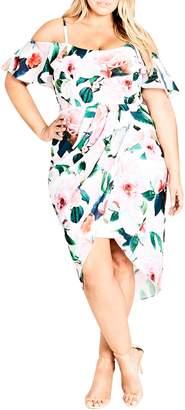City Chic Love Me Do Floral Cold Shoulder Dress