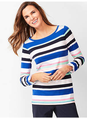 Talbots Three-Quarter Sleeve Tee - Multi- Color Stripe
