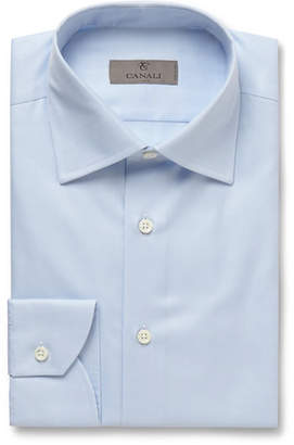 Canali Blue Slim-Fit Cotton-Twill Shirt - Men - Blue