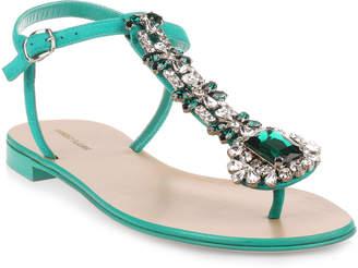 127a3ef668ef Manolo Blahnik Esfiratomod flat emerald suede sandal