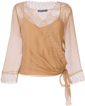 Alberta Ferretti lace trim wrap blouse