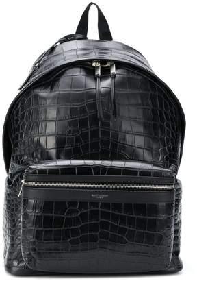 Saint Laurent crocodile-effect City backpack 33f7710bf7a00