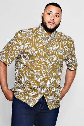 boohoo Big And Tall Retrol Floral Print Shirt