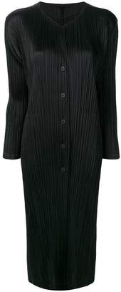 Pleats Please Issey Miyake long pleated coat