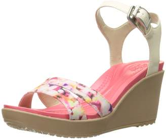 Crocs Women's Leighii Anklestrap Graphic Wedge Sandal