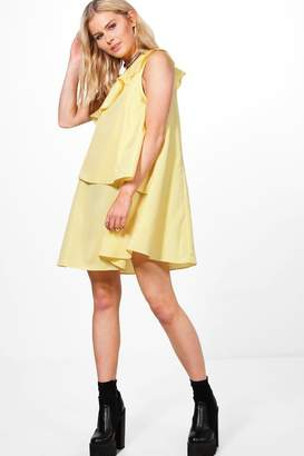boohoo Verena Gingham Frill Tiered Shift Dress $38 thestylecure.com