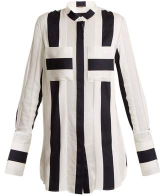 ADAM by Adam Lippes Striped Jacquard Cotton Blend Shirt - Womens - Navy White