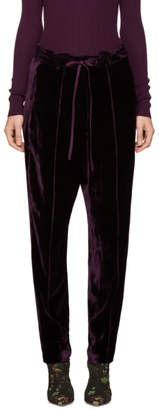 Nina Ricci Burgundy Velvet Tapered Trousers